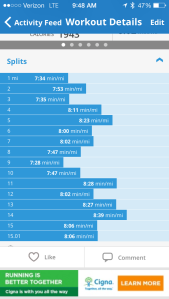 15 mile run splits