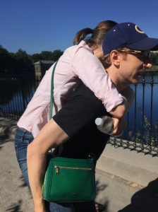 Only crazy people like me think of piggyback rides as an opportunity to train for the uphills on the bridges during the marathon, right?